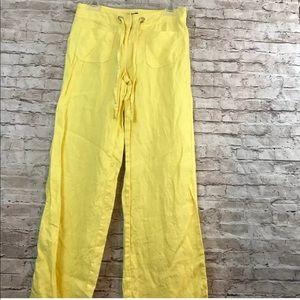 Macy's INC Size 4 Pants Yellow 100% Linen